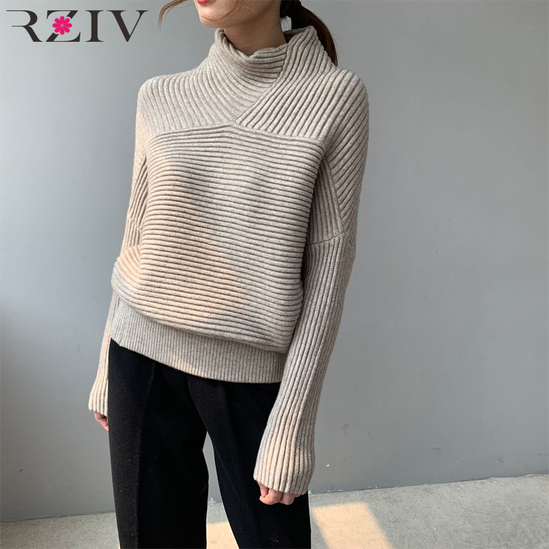 RZIV Autumn And Winter Women's Sweater Casual Solid Color High Collar Bat Sleeve Loose Sweater