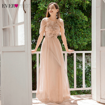 Elegant Blush Prom Dresses Ever Pretty EP00439BH A-Line O-Neck Sequined Spaghetti Straps Formal Party Long Vestidos 2020 - discount item  35% OFF Special Occasion Dresses