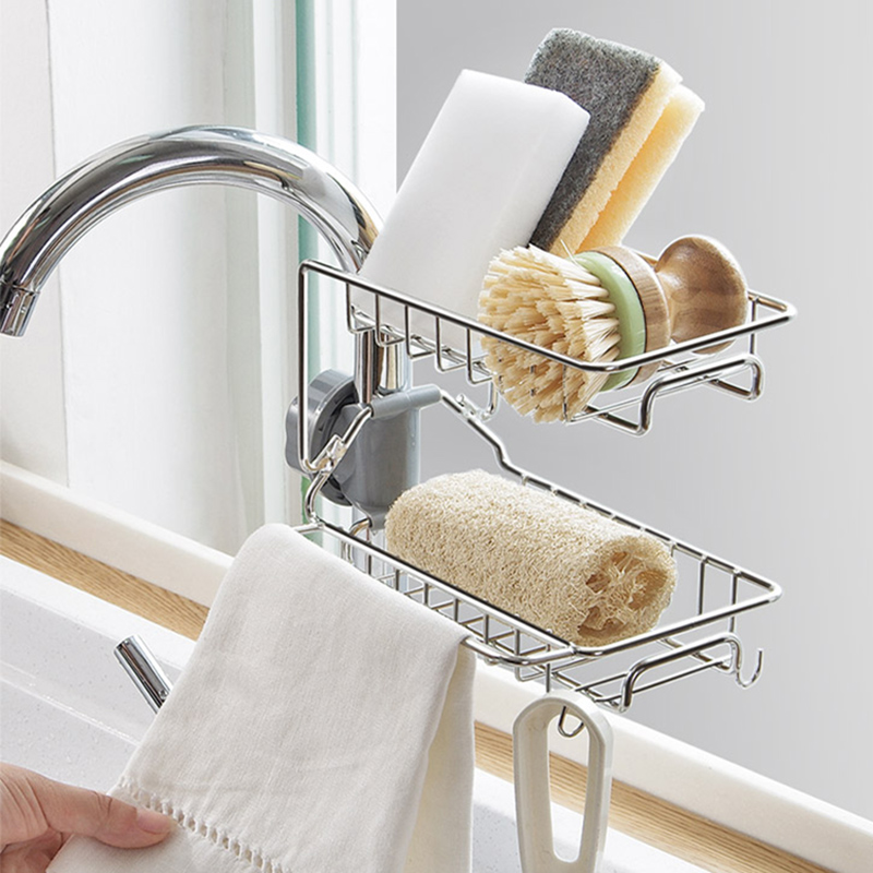 Faucet Sponge Holder Sink Organizer Drainer Faucet Hanging Storage Rack For Bathroom Kitchen Sponge Holder HTQ99