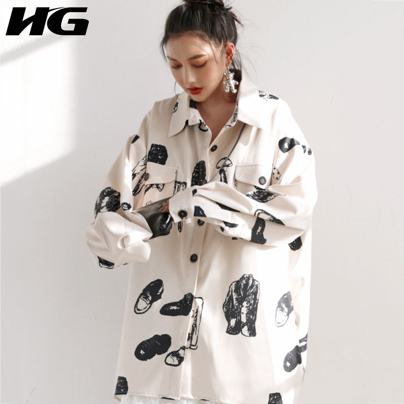 HG Vintage imprimé longue chemise Style coréen Blouse femmes grande taille lâche femmes hauts et chemisiers mode élégant automne nouveau XJ1872