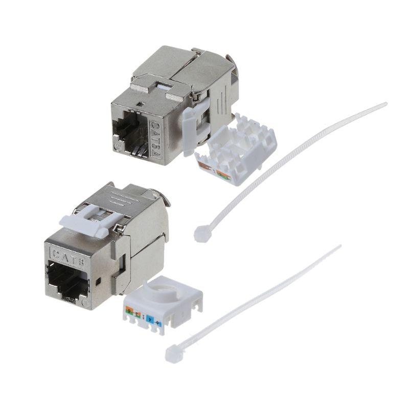 1Pc RJ45 Keystone Cat6/Cat6A Shielded FTP Zinc Alloy Module Network Keystone Jack Connector Adapter