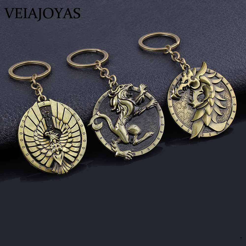 Game Series Keychains The Elder Scrolls Pendant Keychain Vintage Antique Bronze Skyrim Dragon Round Car Keyring Chaveiro Jewelry image