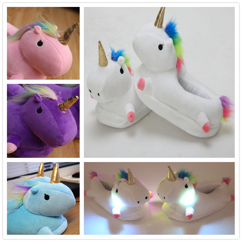 Women Fur Slippers Winter Unicorn Slipper Adult Soft Home Slipper Keep Warm Indoor Slippers Women Cozy Home Shoes for Girls image