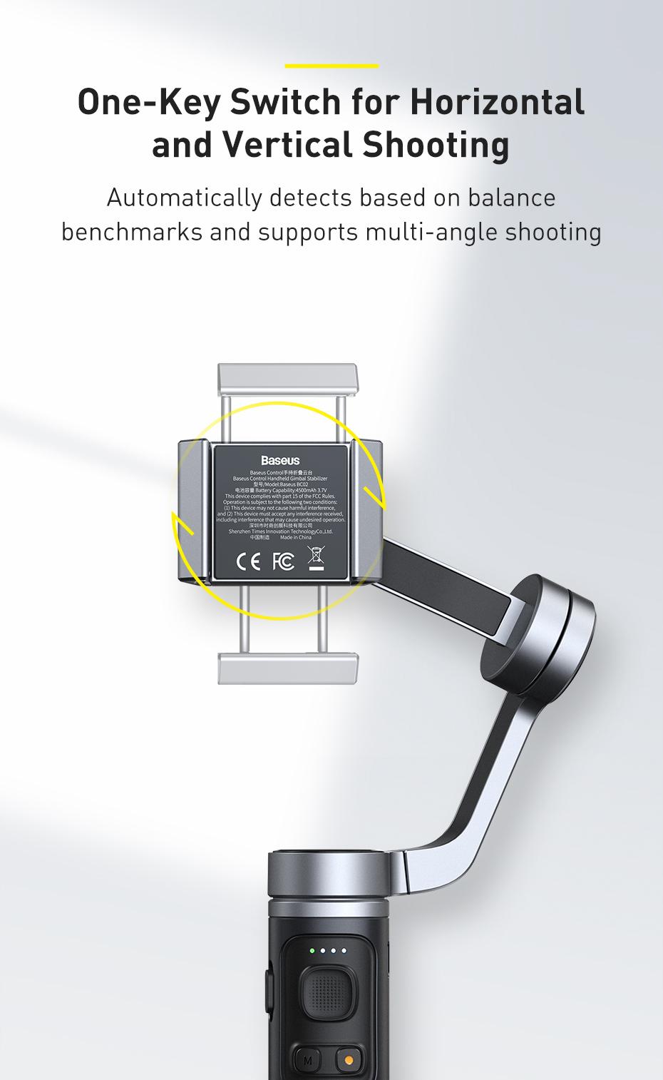 Baseus Control Smartphone Handheld Folding Gimbal Stabilizer 7