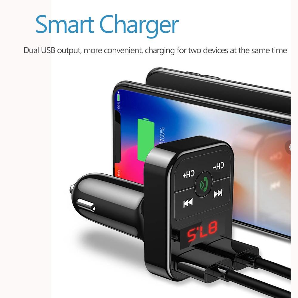 Bluetooth 5.0 FM Transmitter Car MP3 Player Dual USB 2.1A Fast Charger Car Music Player  FM Modulator Audio Frequency Radio 5