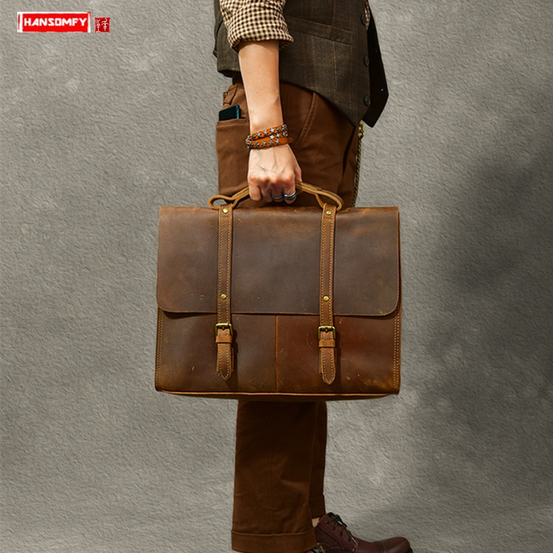 Retro Crazy Horse Leather Men Briefcase Male Handbags Large Capacity Business Laptop Shoulder Messenger Bag School Travel Bags
