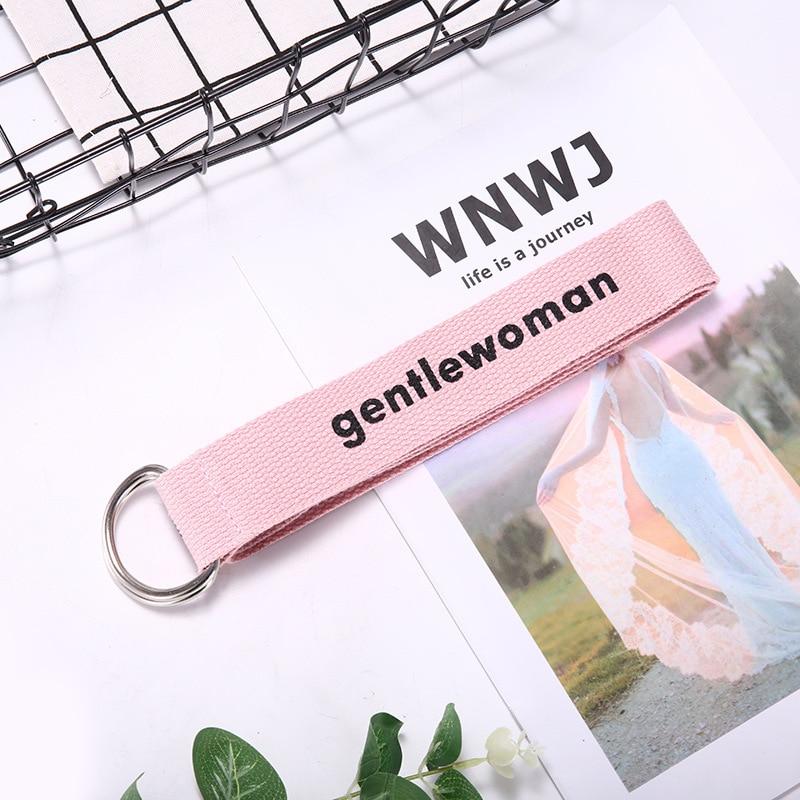TagerWilen ремень стиль буквы напечатаны мода унисекс двойное D Кольцо холст ремень длинные джинсы ремни для женщин брезентовый мужской ремень - Цвет: GW-Pink
