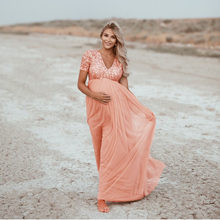 2020 Wanita Pregnant Foto Maternity Lengan Pendek Berpayet Solid Gaun Renda Elegan Fashion Maternity Dress(China)