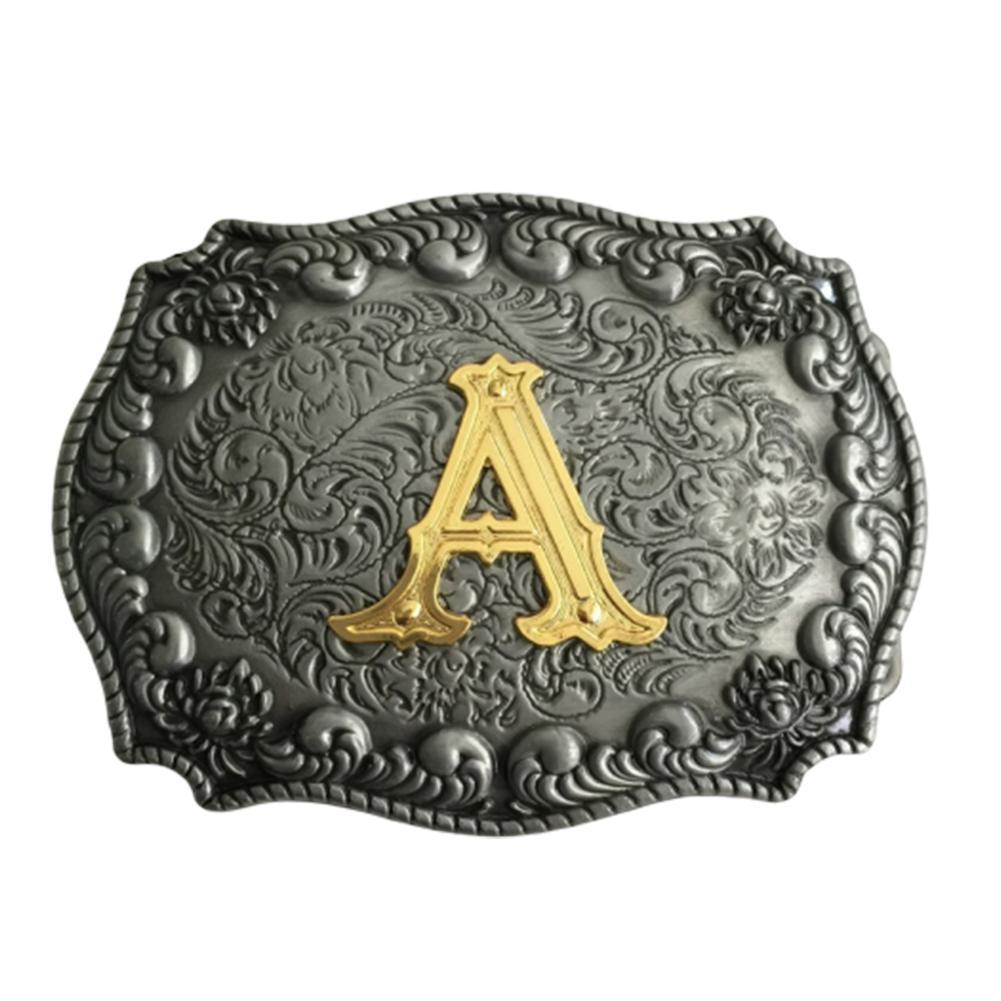 Western Men's Golden Initial Letter Belt Buckle 26 Letters For 4cm/1.58in Wideth Belt For Men Waist Belt