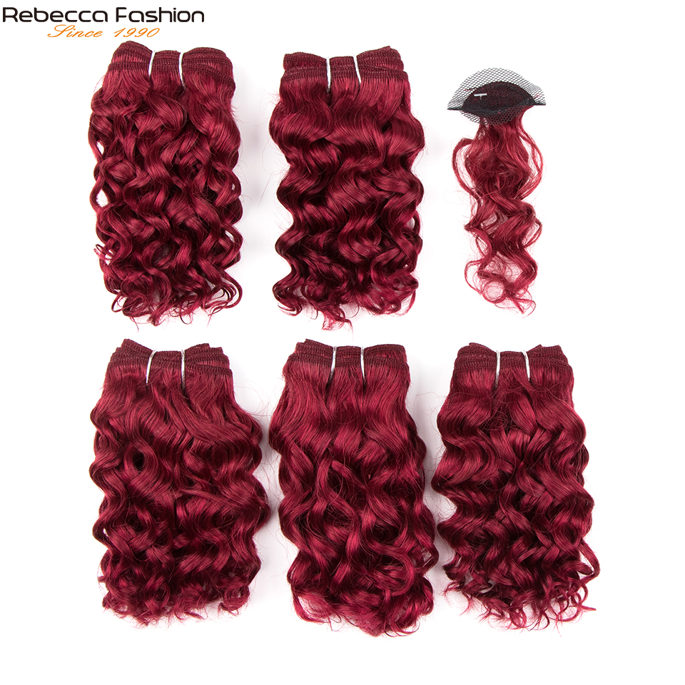 REBECCA Sparkle Curl Short Curly Hair Bundles With Closure Double Drawn Remy Human Hair 158 5 Hair Bundles With Closure
