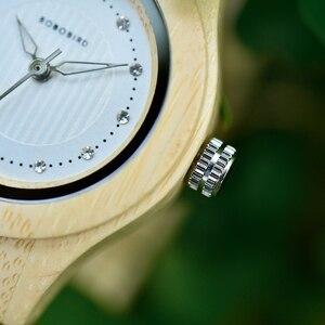 Image 2 - BOBO PÁSSARO Das Senhoras Relógios De Luxo De Madeira De Bambu Moda Únicas Mulheres Quartz Relógio de Pulso relogio feminino com Diamante