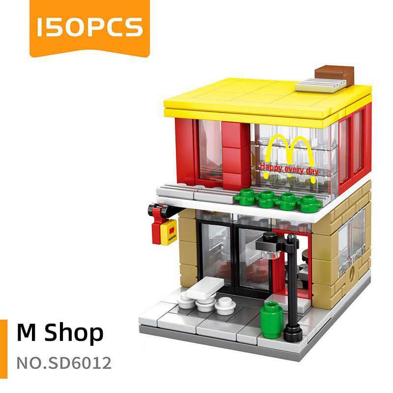 Enkele Mini Stad Straat Serie Voedsel Candy Pizza Ijs Winkel Boekhandel Moc Bouwstenen Kinderen Educatief Speelgoed