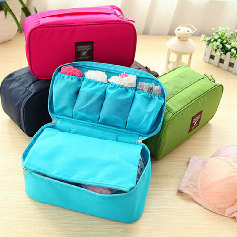 Multifunctional Toiletry Organizer Underwear Bra Finishing Bag Space Saver High Capacity Cosmetics Bags Waterproof Travel Box