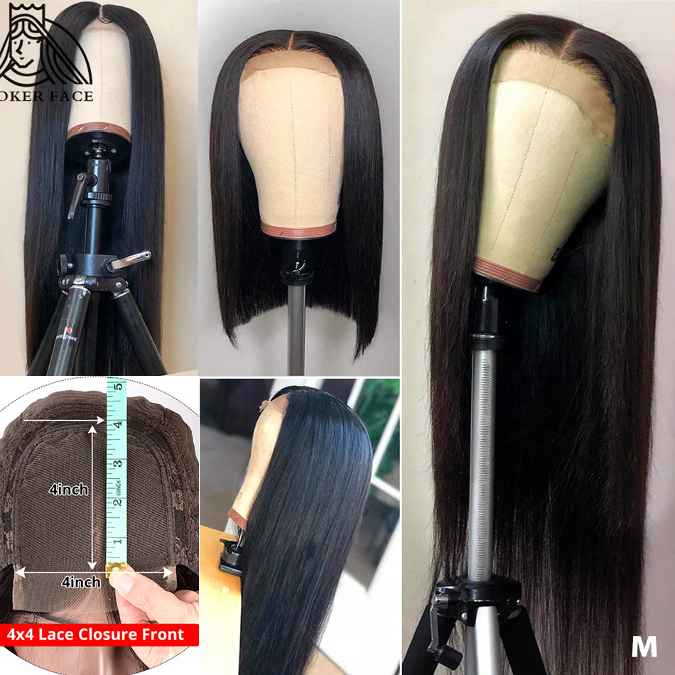 Poker Face 4x4 Lace Closure Wig  Straight 28 30 Inche Lace Wig 150 Density Brazilian Lace Front Human Hair Wigs Remy