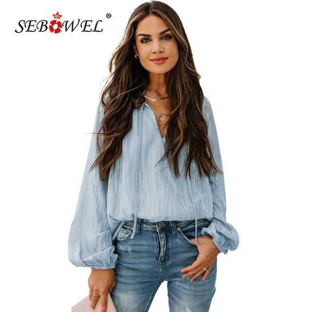 SEBOWEL Woman V Neck Lantern Sleeve Textured Solid Top Female Spring Autumn Casual Drawstring Blouse Ladies Sexy Shirts Tops 2XL 1