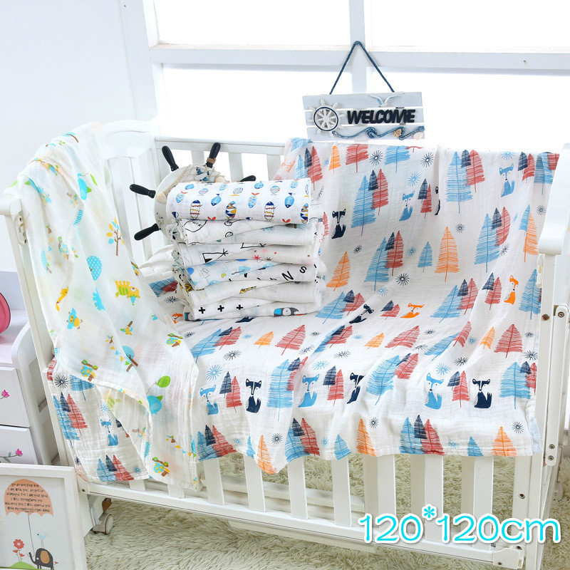 1Pc Muslin 120*120CM Cotton Baby Swaddles Soft Newborn Blankets Bath Gauze Infant Wrap Sleepsack Stroller Cover Play Mat