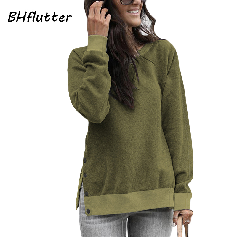 BHflutter 2019 Pullover Women Army Green Long Sleeve Buttons Casual Hoodie Fluffy Autumn Winter Sweatshirts Tops Sudadera Mujer