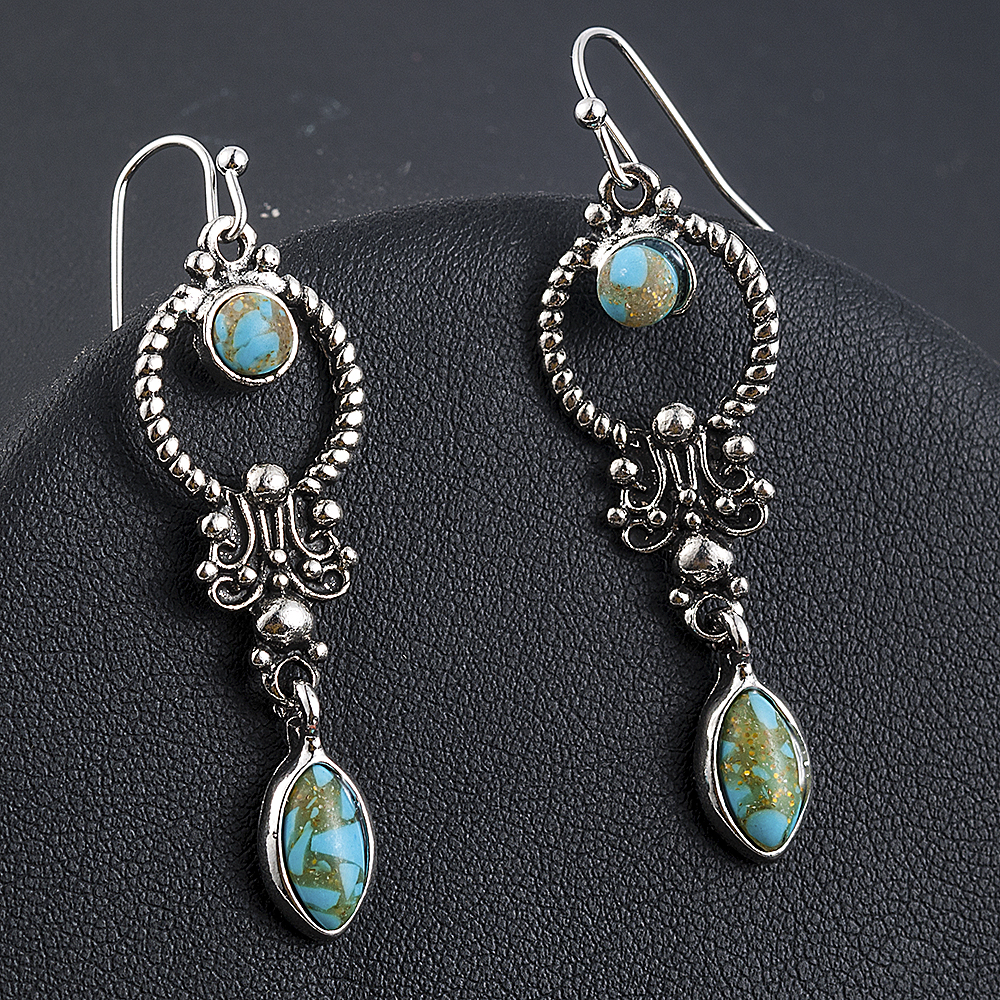 Indian Tribal Personality Natural Dangle Drop Earrings Resin Stone Boho Ethnic Vintage Hanging Earrings 2019 for Women 1