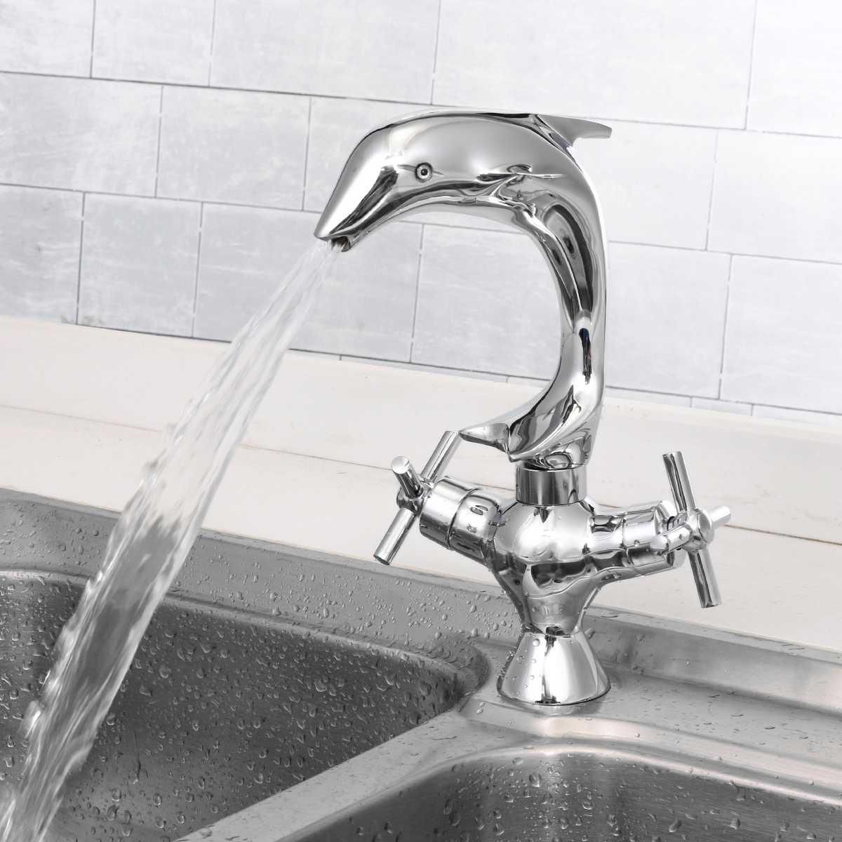 Xueqin медь Дельфин стиль смеситель для раковины двойная ручка ванная комната двойное отверстие Смесители горячей и холодной воды Хром полиро...