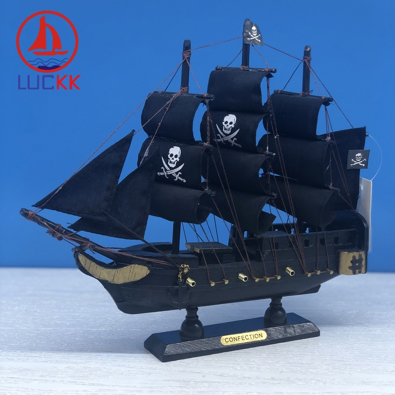 LUCKK 24CM Caribbean Black Pearl Pirate Wooden Sailing Model Nautical Furnishing Articles Home DecorCrafts Ship Figurine