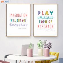 Алфавита цитаты Плакаты и милыми принтами холст картины декоративный
