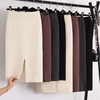 Winter Thickening Wool Blend Split Mid Knitted Skirt Cashmere Warm Hip Slim Mid-calf Knit Skirts 2 Length 4 Colors 1