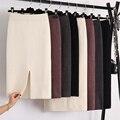 Зимняя уплотненная шерстяная вязаная юбка средней длины с разрезом кашемировые теплые облегающие до середины икры вязаные юбки 2 длины 4 цвета - фото