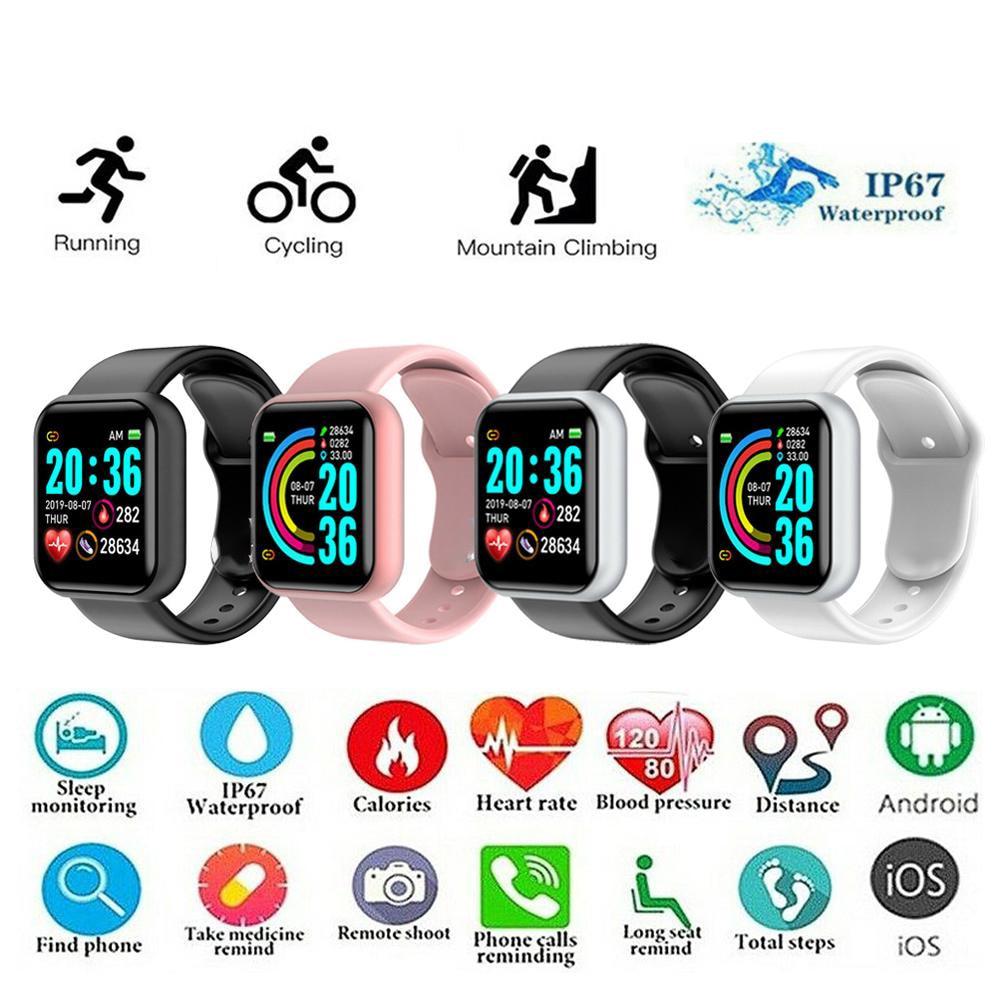 Y68 relógio inteligente dos homens das mulheres d20 pro smartwatch monitor de freqüência cardíaca saúde pressão arterial esportes rastreador inteligente pulseira