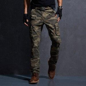 Image 3 - AKSR erkek moda rahat pamuk kargo pantolon büyük boy esnek taktik askeri kamuflajlı pantolon haki pantolon erkek pantolon Joggers