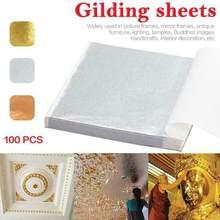 Feuilles de papier dorées et argentées 9x9cm, 100 feuilles de papier artisanal pour meubles, cadre Photo, décor de plafond