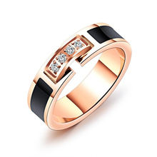 Women Rings Stainless Steel Inlay AAA Zircon Rose Gold Plating Lucky Ring High Polish Women's Jewelry Fine Gift For Ladies tailor made luxury western rose gold color inlay health surgical stainless steel wedding bands rings sets