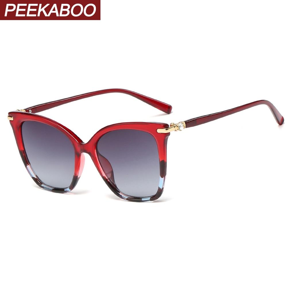 Peekaboo Red Sexy Cat Eye Sunglasses For Women Black 2020 Gradient Lens Oversized Sun Glasses For Ladies Hot Selling Uv400
