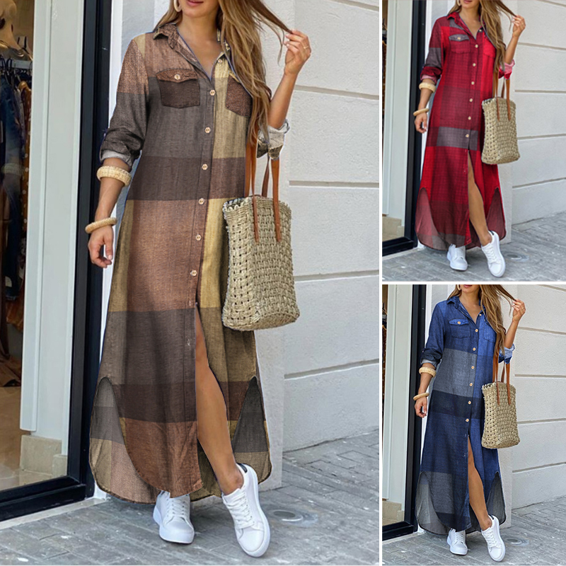 ZANZEA 2021 Fashion Female Longue Robe Women Autumn Vintage Long Sleeves Maxi Shirt Dress Casual Plaid Vestidos Plus Size 5XL