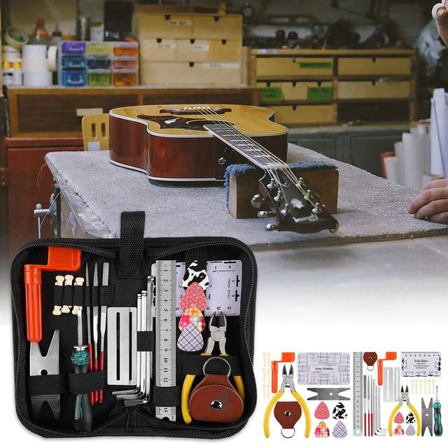 Alicate de manutenção de graves elétrico, kit de ferramentas de reparo profissional para cuidado com a guitarra, instrumento musical, régua de cordas, conjunto completo