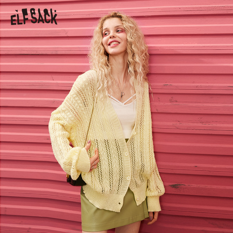 ELFSACK Multicolor Solid Cut Out Mohair Loose Casual Cardigan Women Sweaters 2020 Spring Pure Long Sleeve Korean Girly Daily Top