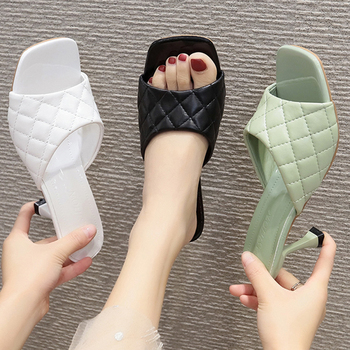 Women Pumps Weave Leisure Slip-on Office High Heels 2020 Summer Ladies Blue Open Toe Square Head Slippers Casual Woman Shoes - discount item  50% OFF Women's Shoes