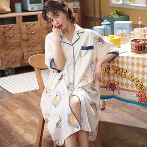 Ночная сорочка женская короткая хлопковая, домашняя рубашка, Повседневная Свободная ночная рубашка, весна-лето