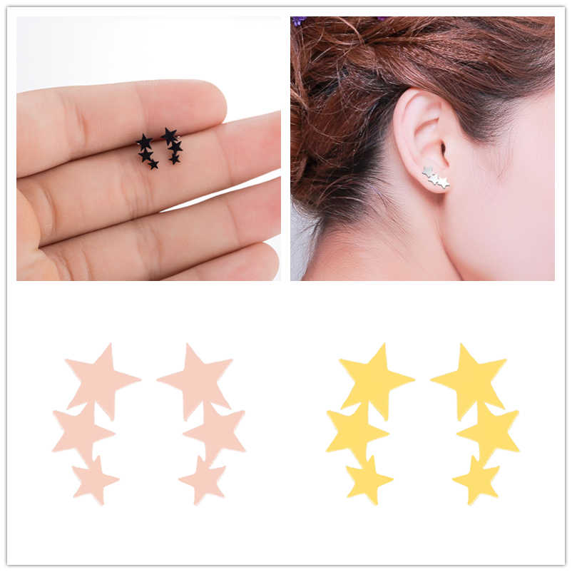Hfarich Stainless Steel Cute Silver Mini Tiny Star Stud Earrings for Women Fashion Hypoallergenic Friend Birthday Gift 2019