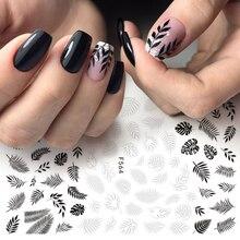 1pc Nagel Folie Slider 3D Aufkleber Schwarz Weiß Pflanzen Blatt Blumen Decals Für Maniküre Wrap Flake Nail art Zubehör LAF564 573