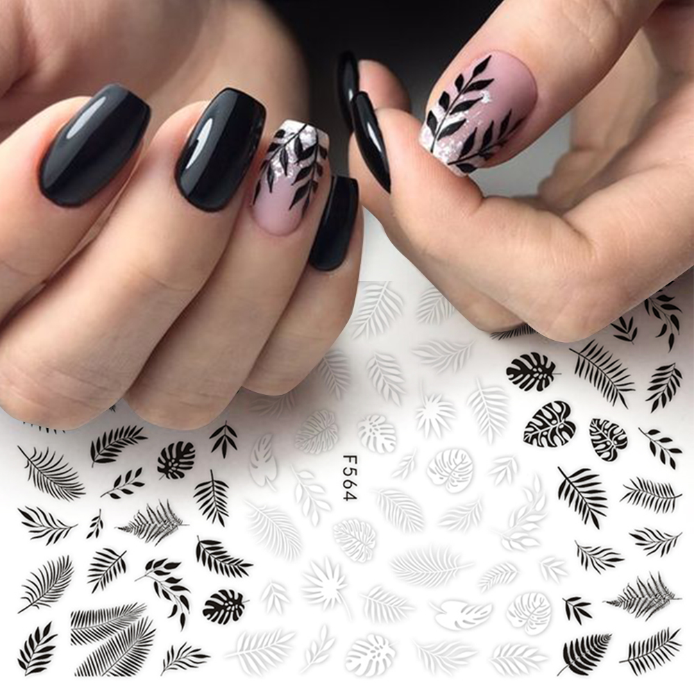 1pc Nail Foil Slider 3D Sticker Black White Plant Leaf Flowers Decals For Manicure Wrap Flake Nail Art Accessories LAF564-573