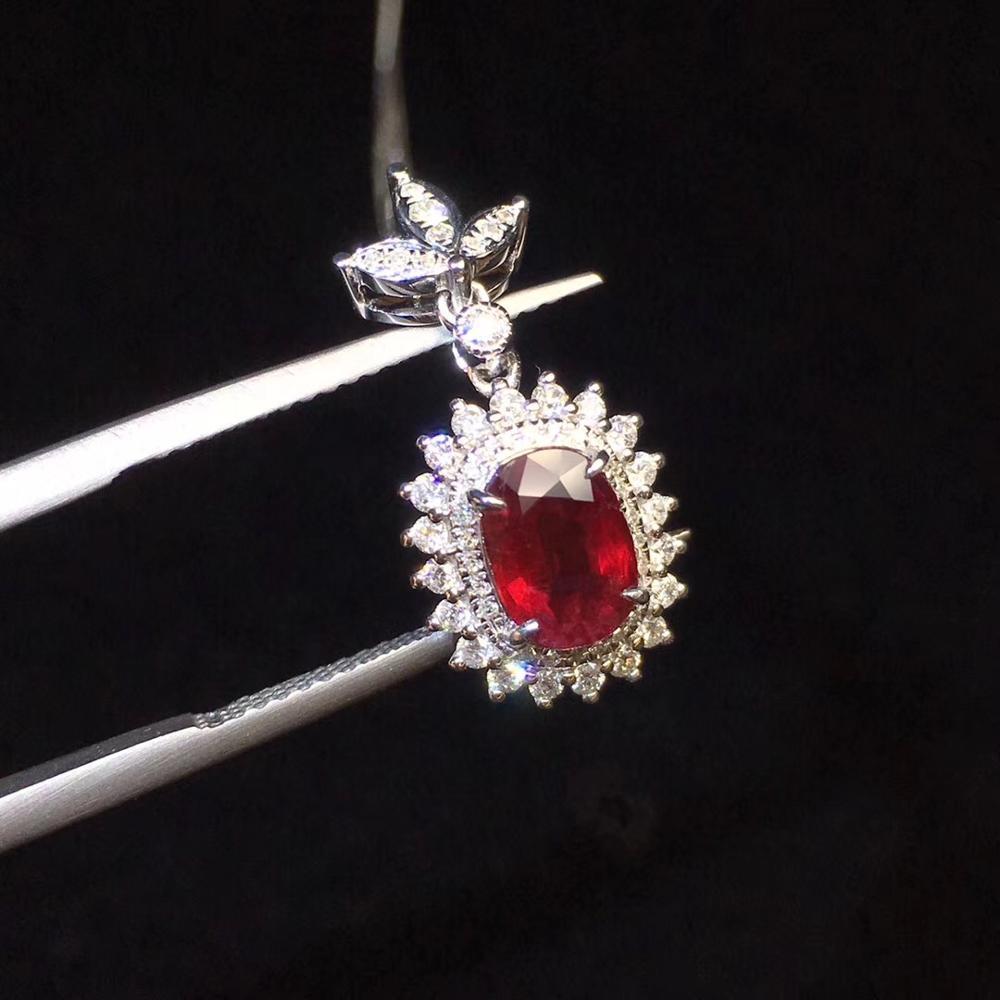 Rubis pendentif bijoux fins réel 18K or blanc 100% rubis naturel pierres précieuses 1.03ct diamants fin Chic pendentif collier