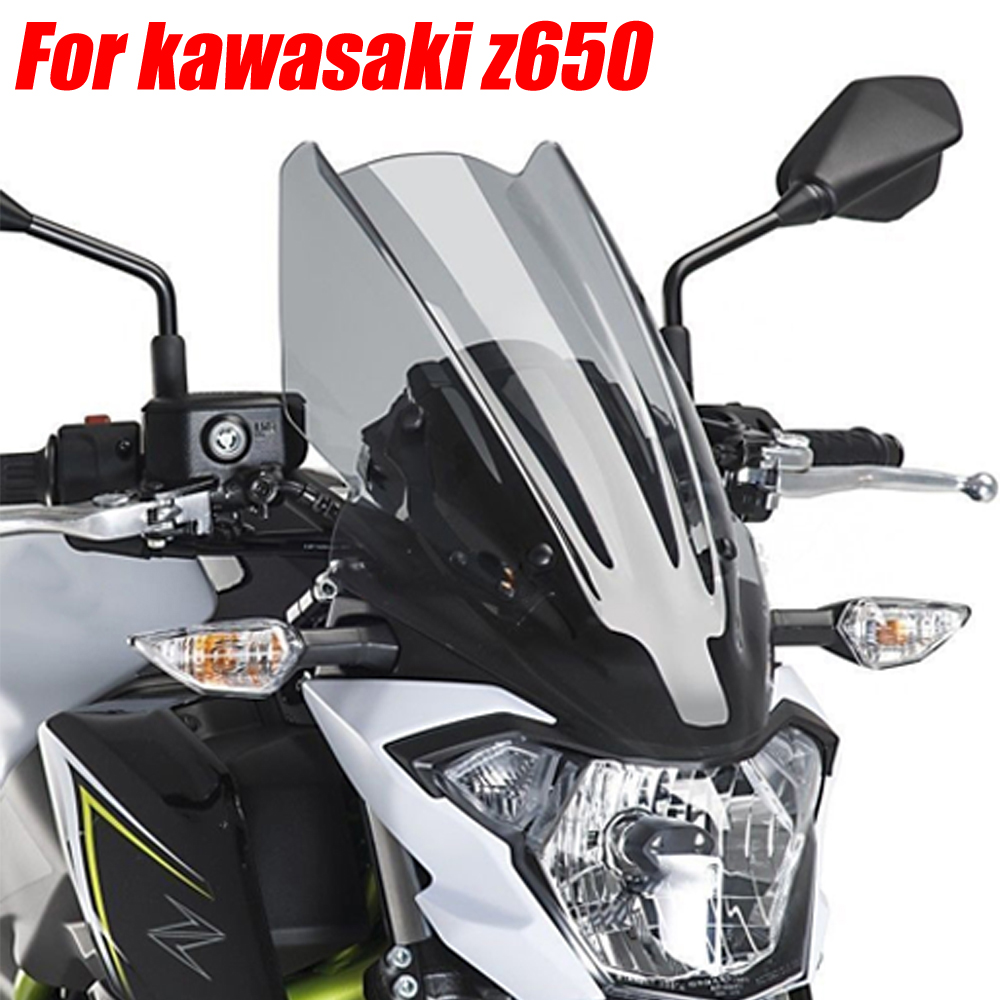 For Kawasaki Z650 2017 2018 2019 Windscreen Windshield Shield Screen With Bracket