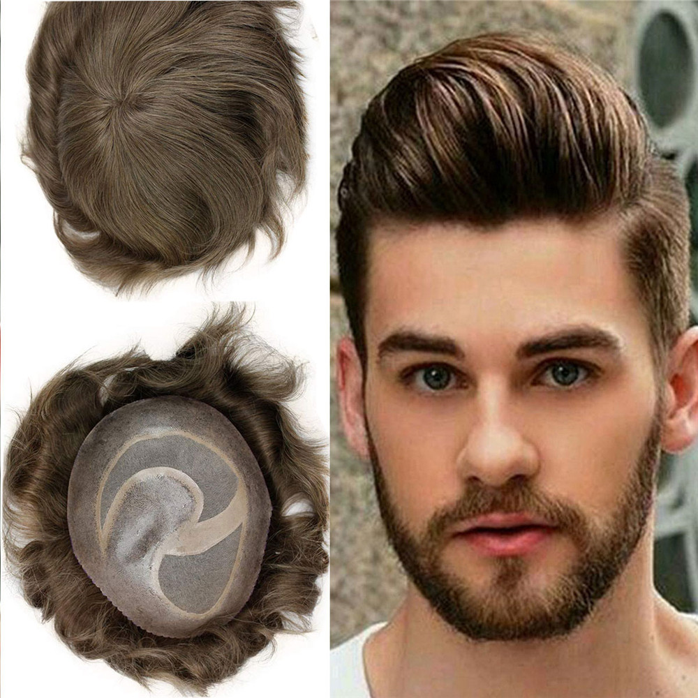 Men'S Toupee Hairpieces Human Hair Best Mono With PU Hair Replacement With Soft Skin Swiss Lace Toupee For Men 8X10 ""