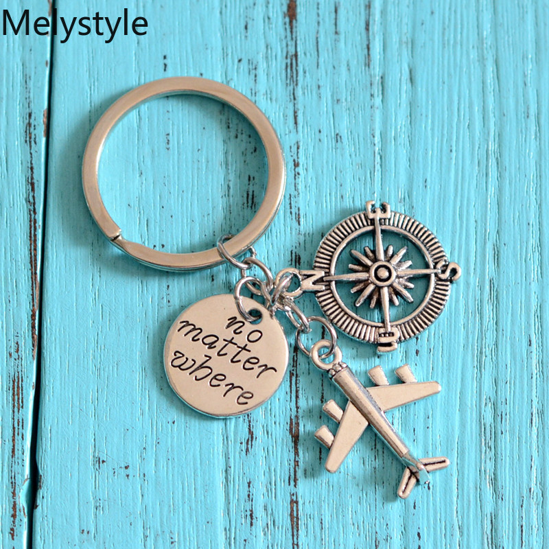 2019 Love Travel Charm Airplane Keychain Globe Compass Passport keyring Best Friends Gift Key Chains Key Rings Wanderlust Travel image