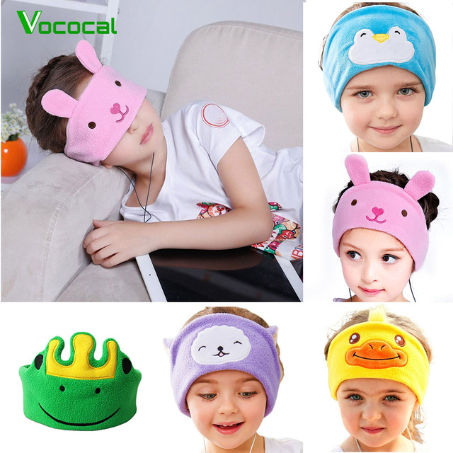 Vococal Cute Headphones Hearing Protection Kids Childrens Headband Earphones Headset Mask Cover For Sleeping Listening Music