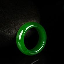 Кольцо из натурального зеленого нефрита 8-10, амулет из жадеита, модное китайское ювелирное изделие, ручная работа, подарки на удачу для женщин и мужчин, P85