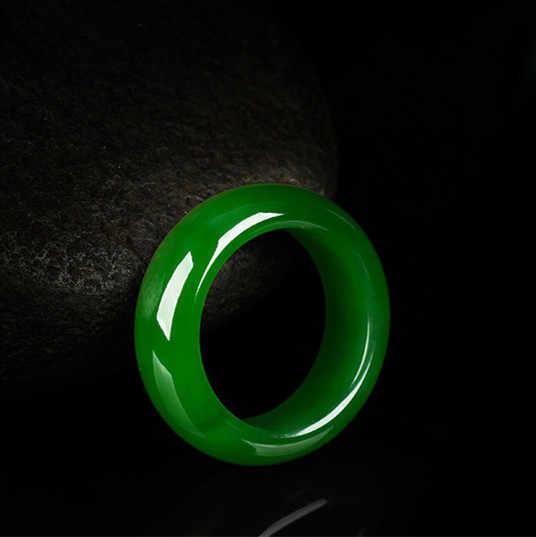 แหวนหยกแท้สีเขียวธรรมชาติ 8-10 Jadeite Amulet แฟชั่นจีน Charm เครื่องประดับแกะสลักงานฝีมือ Luck ของขวัญผู้หญิงผู้ชาย p85