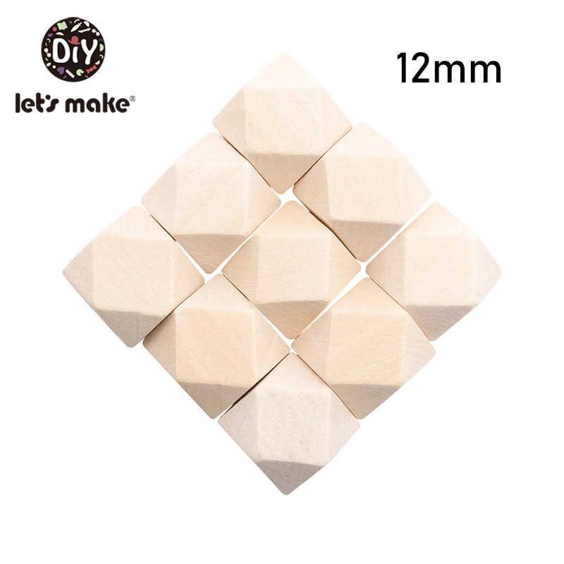 دعونا جعل 50 قطعة غير المكتملة هيكسوجان هندسية خشبية الخرز 16 مللي متر/20 مللي متر عضاضة خشبية DIY بها بنفسك الطفل حشرجة الطفل عضاضة اللعب