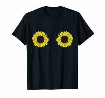 Funny Sunflower Boobs T-Shirt Women Girls Party Gift Hippie Outfit Tee Shirt