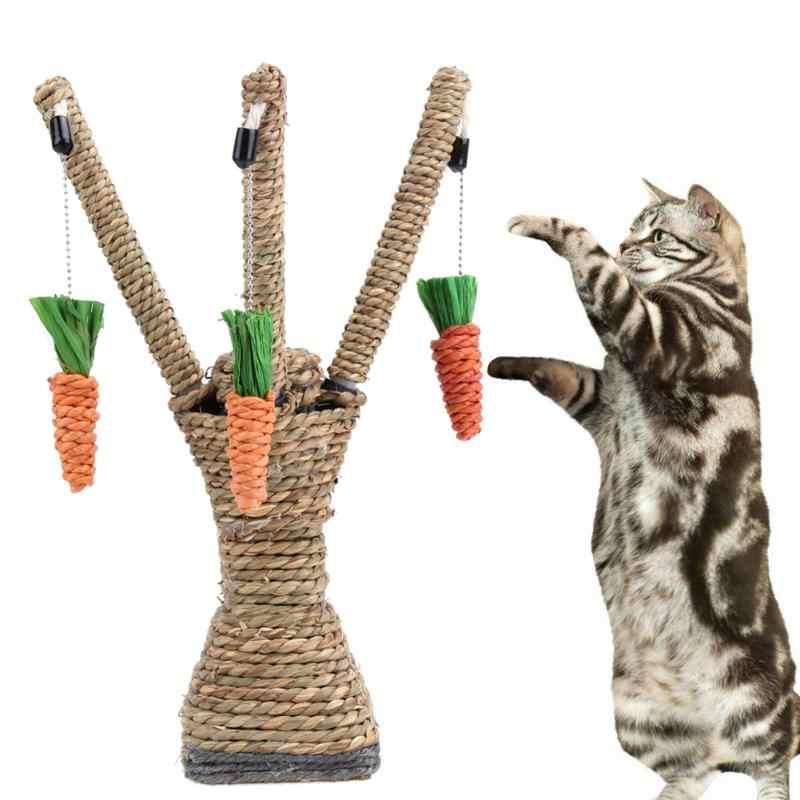 1pc 애완 동물 고양이 장난감 씹는 새끼 고양이 치아 관리 씹는 장난감 대화 형 나무 타워 선반 등반 프레임 긁는 게시물